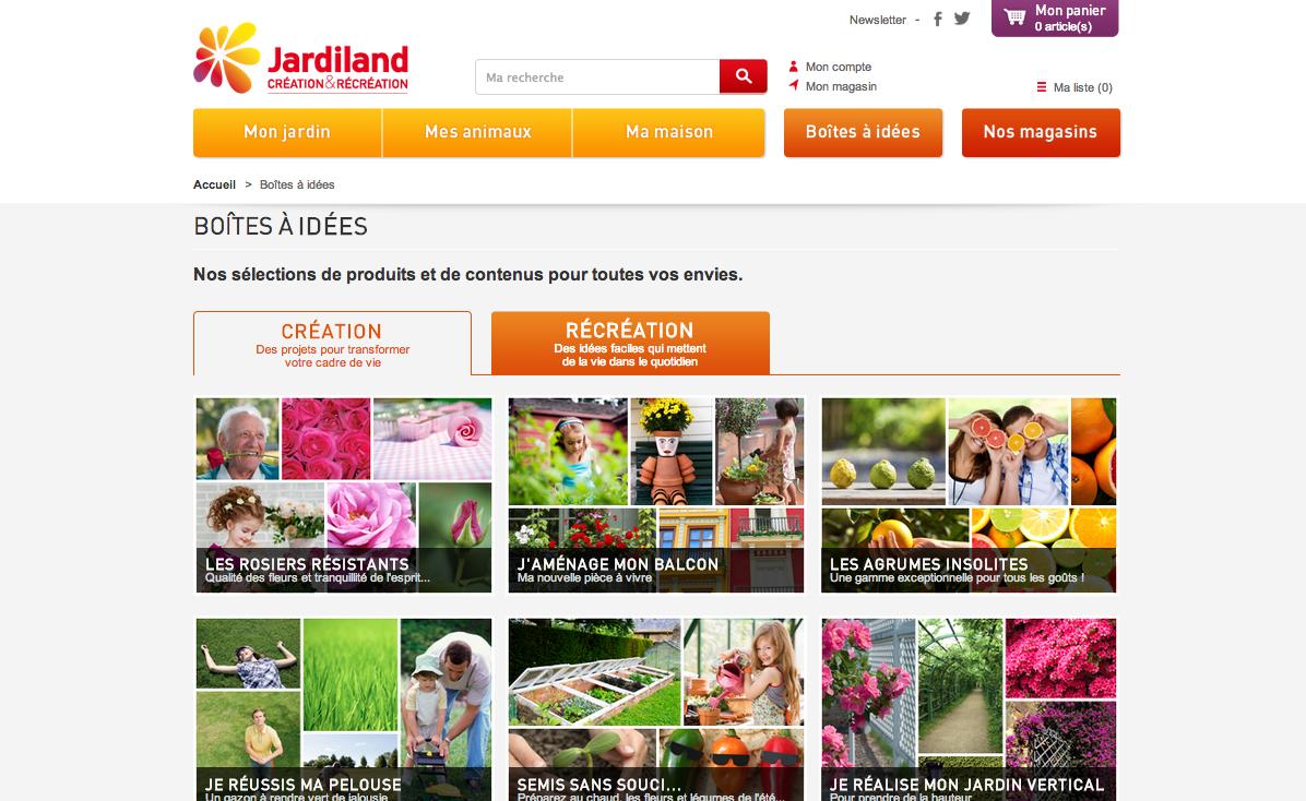 Site e-commerce Jardiland : LES BOITES À IDÉES
